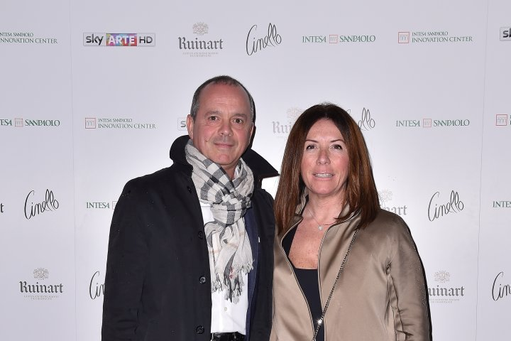 MILAN, ITALY - APRIL 11:  Beone Francesco and Lorenza Tagliaferri attend Save The Artistic Heritage - Vernissage Cocktail on April 11, 2018 in Milan, Italy.  (Photo by Jacopo Raule/Getty Images for Cinello) *** Local Caption *** Beone Francesco;Lorenza Tagliaferri