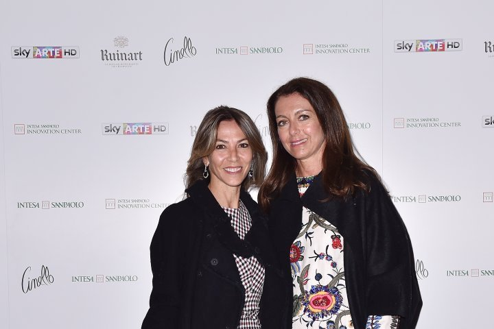 MILAN, ITALY - APRIL 11:  Veronica Porzio and Cristina Soriani attend Save The Artistic Heritage - Vernissage Cocktail on April 11, 2018 in Milan, Italy.