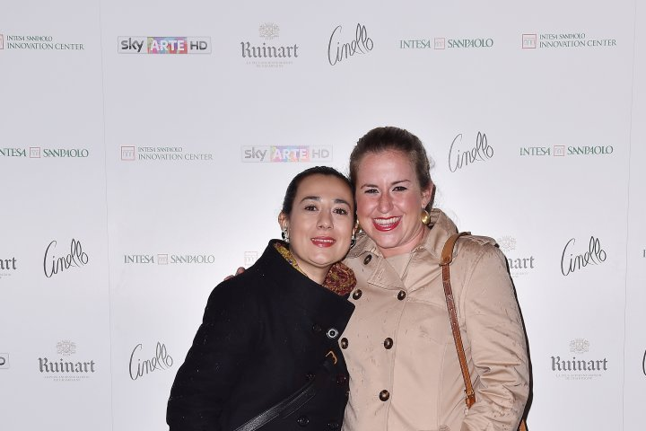 MILAN, ITALY - APRIL 11:  Mariacristina Ferraioli and Francesca Riccadonna attend Save The Artistic Heritage - Vernissage Cocktail on April 11, 2018 in Milan, Italy.