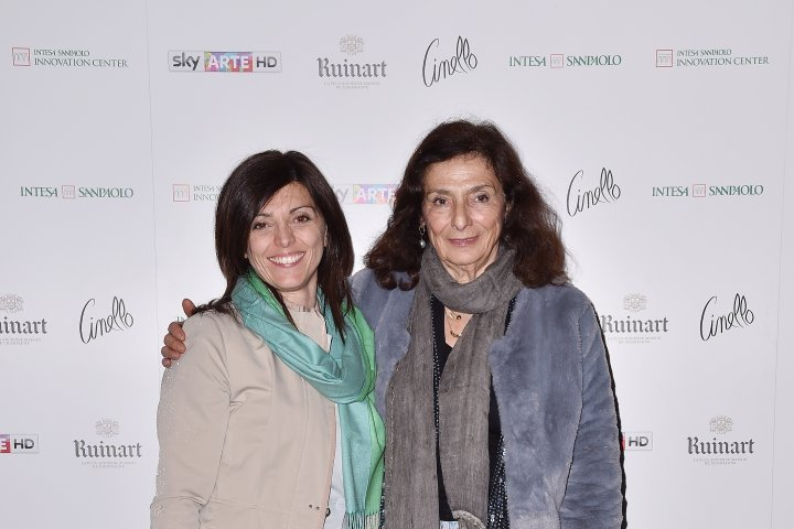MILAN, ITALY - APRIL 11:  Rosa Quadrino and Carla Cordini attend Save The Artistic Heritage - Vernissage Cocktail on April 11, 2018 in Milan, Italy.