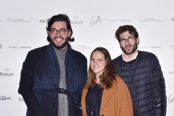 MILAN, ITALY - APRIL 11:  Alberto Zenere, Gloria De Risi and Alessio Baldister attend Save The Artistic Heritage - Vernissage Cocktail on April 11, 2018 in Milan, Italy.