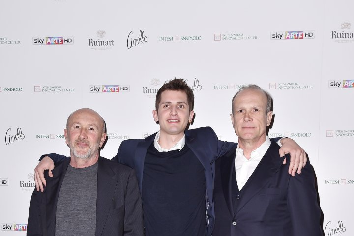 MILAN, ITALY - APRIL 11:  Patrizio Losi, Franco Losi and a guest attend Save The Artistic Heritage - Vernissage Cocktail on April 11, 2018 in Milan, Italy.