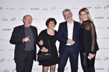 MILAN, ITALY - APRIL 11:  Patrizio Losi, Luciana Albasi, Luca Renzi and Federica Pesce attend Save The Artistic Heritage - Vernissage Cocktail on April 11, 2018 in Milan, Italy.