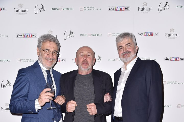 MILAN, ITALY - APRIL 11:  Marco Peri, Patrizio Losi and Luca Renzi attend Save The Artistic Heritage - Vernissage Cocktail on April 11, 2018 in Milan, Italy.