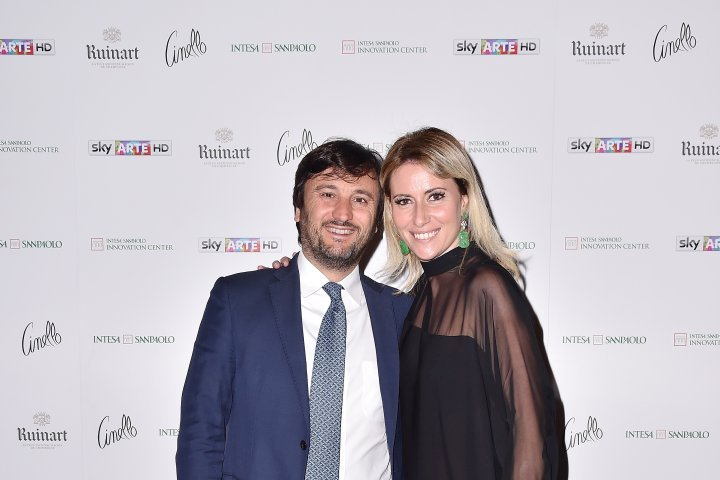 MILAN, ITALY - APRIL 11:  Alberto Losacco and  Federica Pesce attend Save The Artistic Heritage - Vernissage Cocktail on April 11, 2018 in Milan, Italy.  (Photo by Jacopo Raule/Getty Images for Cinello) *** Local Caption *** Alberto Losacco;Federica Pesce