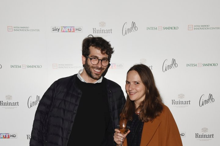 MILAN, ITALY - APRIL 11:  Gloria De Risi and Alessio Baldister attend Save The Artistic Heritage - Vernissage Cocktail on April 11, 2018 in Milan, Italy.  (Photo by Stefania M. D'Alessandro/Getty Images for Cinello) *** Local Caption *** Gloria De Risi;Alessio Baldister