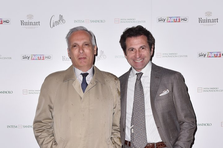 MILAN, ITALY - APRIL 11:  Alfredo Malguzzi and Primo Maronati attend Save The Artistic Heritage - Vernissage Cocktail on April 11, 2018 in Milan, Italy.