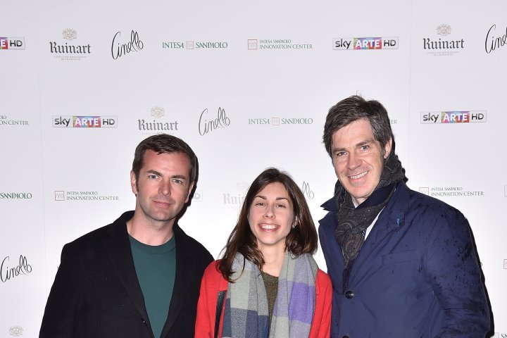 MILAN, ITALY - APRIL 11:  Diego Bergamaschi, Veronica Botta and a guest attend Save The Artistic Heritage - Vernissage Cocktail on April 11, 2018 in Milan, Italy.