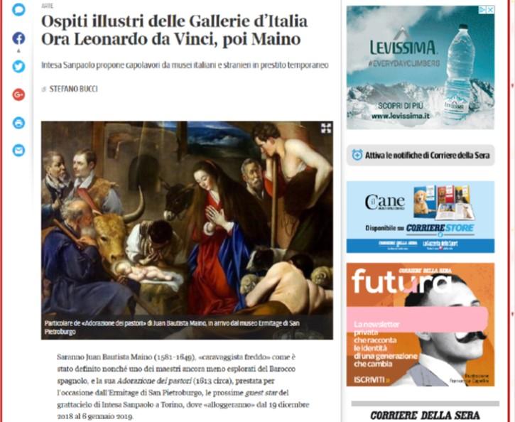 Ospiti illustri delle Gallerie d'Italia. Ora Leonardo da Vinci, poi Maino.