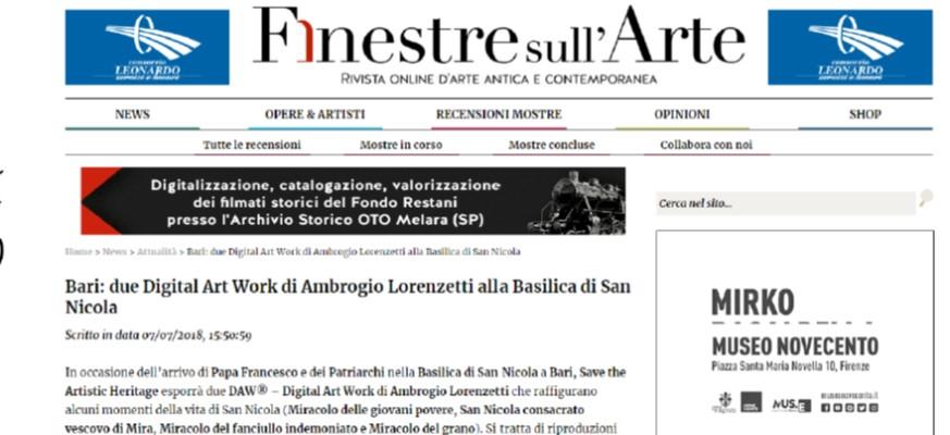 Bari: due Digital Art Work di Ambrogio Lorenzetti alla Basilica di San Nicola