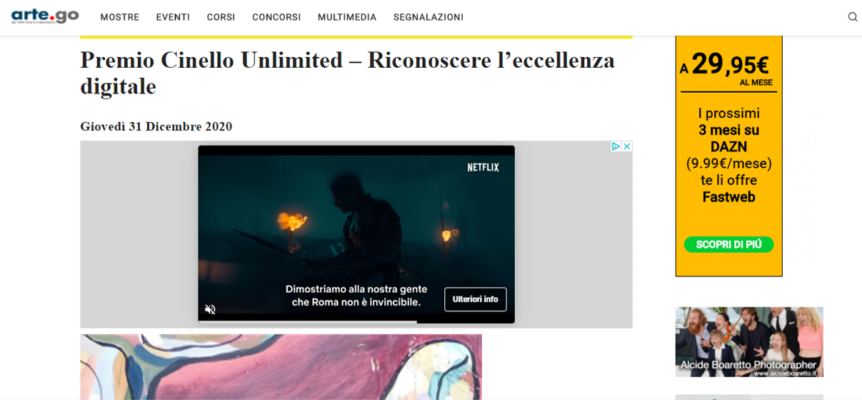 PREMIO CINELLO UNLIMITED – RICONOSCERE L'ECCELLENZA DIGITALE