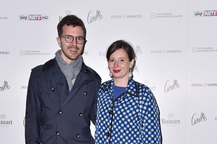 MILAN, ITALY - APRIL 11:  Stefano Collicelli and Eva Fabbris attend Save The Artistic Heritage - Vernissage Cocktail on April 11, 2018 in Milan, Italy.
