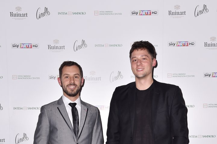 MILAN, ITALY - APRIL 11:  (L-R) Luca Dalla Valle and Greg attend Save The Artistic Heritage - Vernissage Cocktail on April 11, 2018 in Milan, Italy.