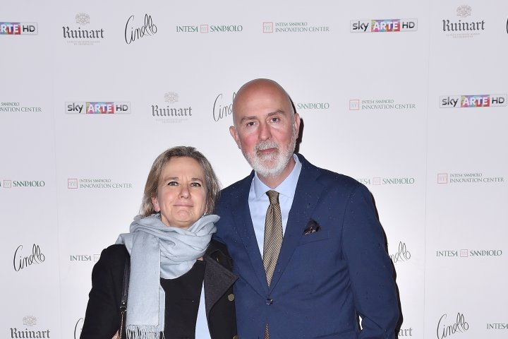 MILAN, ITALY - APRIL 11:  Simona Pandolfini and Carlo Francini attend Save The Artistic Heritage - Vernissage Cocktail on April 11, 2018 in Milan, Italy.