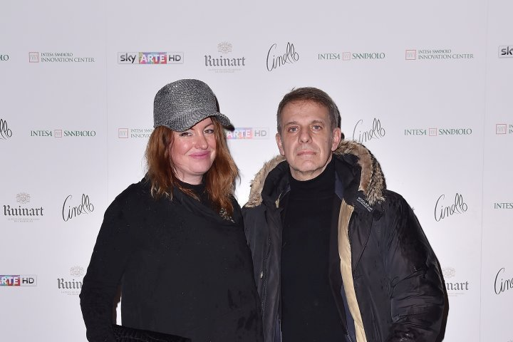 MILAN, ITALY - APRIL 11:  Tony Gherardelli and Katia Gherardelli attend Save The Artistic Heritage - Vernissage Cocktail on April 11, 2018 in Milan, Italy.