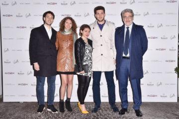MILAN, ITALY - APRIL 11:  Peri Marco, Peri Davide, Teresa Maroli, Irene Matelloni and Mattia Peri attend Save The Artistic Heritage - Vernissage Cocktail on April 11, 2018 in Milan, Italy.