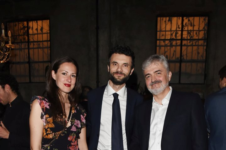 MILAN, ITALY - APRIL 11:  Luca Renzi, Biffoni Matteo and a guest attend Save The Artistic Heritage - Vernissage Cocktail on April 11, 2018 in Milan, Italy.  (Photo by Stefania M. D'Alessandro/Getty Images for Cinello) *** Local Caption *** Biffoni Matteo;Luca Renzi