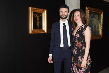MILAN, ITALY - APRIL 11:  Biffoni Matteo and a guest attend Save The Artistic Heritage - Vernissage Cocktail on April 11, 2018 in Milan, Italy.  (Photo by Stefania M. D'Alessandro/Getty Images for Cinello) *** Local Caption *** Biffoni Matteo