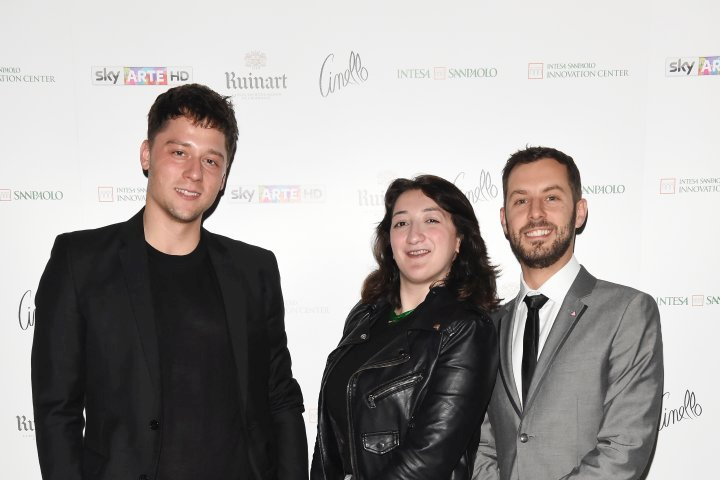 MILAN, ITALY - APRIL 11:  (L-R) Luca Dalla Valle, Greg and a guest attend Save The Artistic Heritage - Vernissage Cocktail on April 11, 2018 in Milan, Italy.  (Photo by Stefania M. D'Alessandro/Getty Images for Cinello) *** Local Caption *** Luca Dalla Valle;Greg