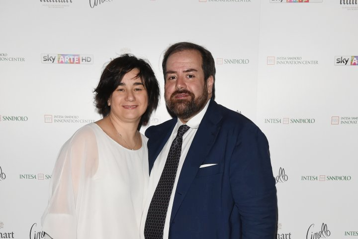 MILAN, ITALY - APRIL 11:  Aldo Colella and Sonia Sacco attend Save The Artistic Heritage - Vernissage Cocktail on April 11, 2018 in Milan, Italy.  (Photo by Stefania M. D'Alessandro/Getty Images for Cinello) *** Local Caption *** Aldo Colella;Sonia Sacco