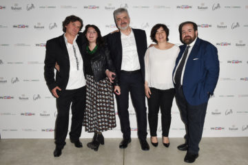 MILAN, ITALY - APRIL 11:  Mario Cristiani, Chandice Yang, Luca Renzi, Sonia Sacco and Aldo Colella attend Save The Artistic Heritage - Vernissage Cocktail on April 11, 2018 in Milan, Italy.  (Photo by Stefania M. D'Alessandro/Getty Images for Cinello) *** Local Caption *** Mario Cristiani;Chandice Yang;Luca Renzi;Sonia Sacco;Aldo Colella