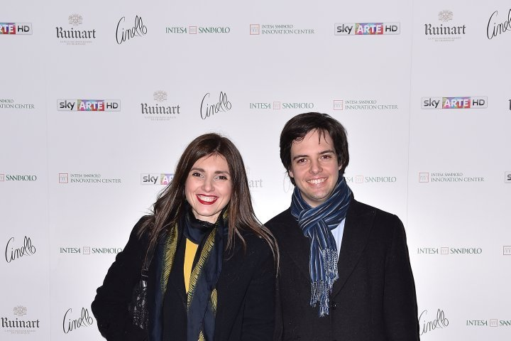 MILAN, ITALY - APRIL 11:  Michele Figlioli and Carolina Donzelli attend Save The Artistic Heritage - Vernissage Cocktail on April 11, 2018 in Milan, Italy.