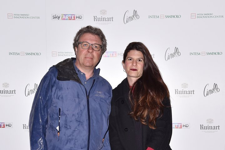 MILAN, ITALY - APRIL 11:  Cora Manzi and Gregorio Cappa attend Save The Artistic Heritage - Vernissage Cocktail on April 11, 2018 in Milan, Italy.