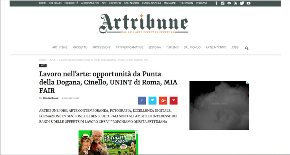 LAVORO NELL'ARTE: OPPORTUNITÀ DA PUNTA DELLA DOGANA, CINELLO, UNINT DI ROMA, MIA FAIR